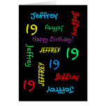 Personalised Greeting Card, 19th Birthday Black Greeting Card