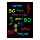 Personalised Greeting Card, Black, 80th Birthday Card