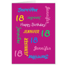 Personalised Greeting Card, Pink, 18th Birthday Card