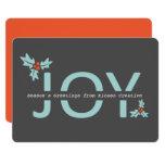 Personalised Grey and Orange Joy And Holly 13 Cm X 18 Cm Invitation Card
