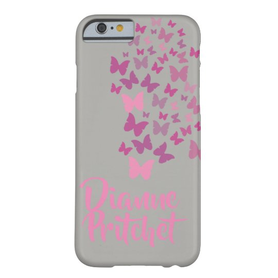 Personalised Grey and pink butterfly Barely There iPhone