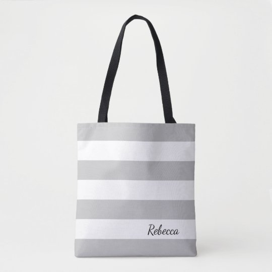 Personalised Grey and White Striped Tote