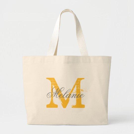 Personalised grey and yellow monogram tote bags