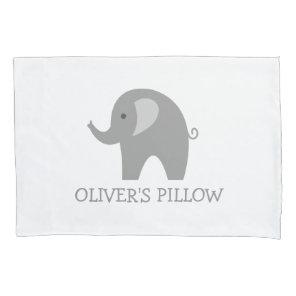Personalised grey elephant kids bedroom pillowcase