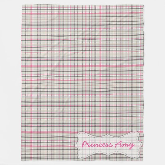 Personalised Grey & Pink Plaid Fleece Blanket