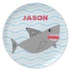 Personalised Grey Shark Blue Waves Plate