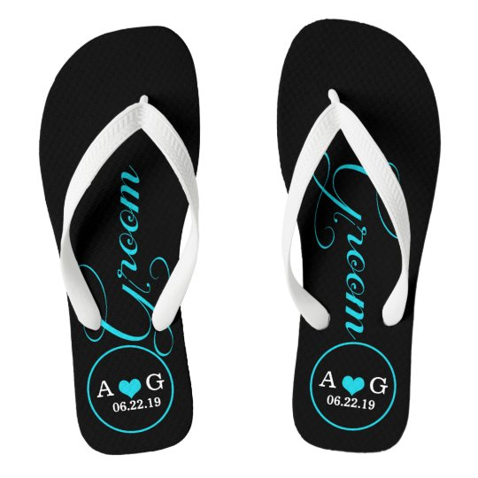 4a71dfc9d7e39b Personalised Groom (blue) Flip Flops