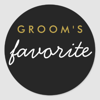 Personalised Groom's Favourite Sticker Black Gold