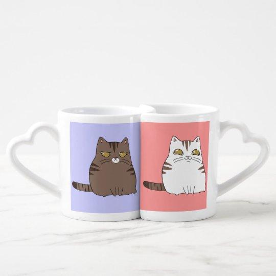Personalised Grumpy and Happy Kitty Coffee Mug Set