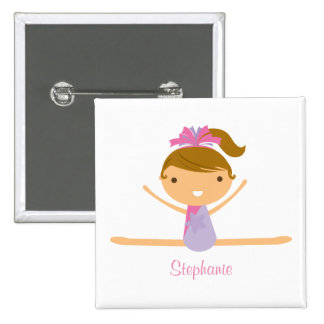 Personalised gymnastics split girl's kids button