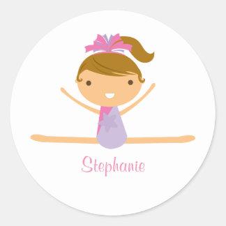 Personalised gymnastics split girl's kids stickers