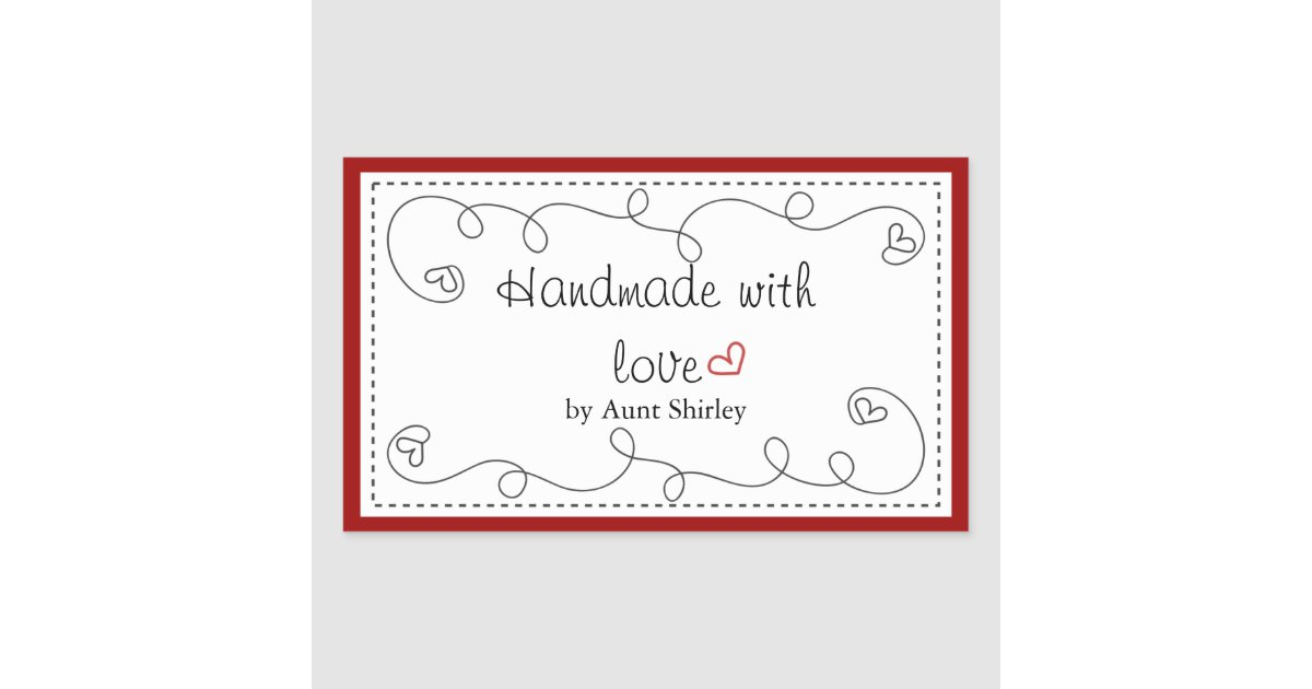 personalised handmade with love labels. Black Bedroom Furniture Sets. Home Design Ideas