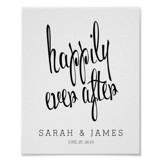 Personalised Happily Ever After Wedding Keepsake Poster