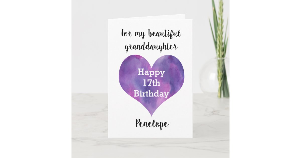 Personalised Happy 17th Birthday Granddaughter Card