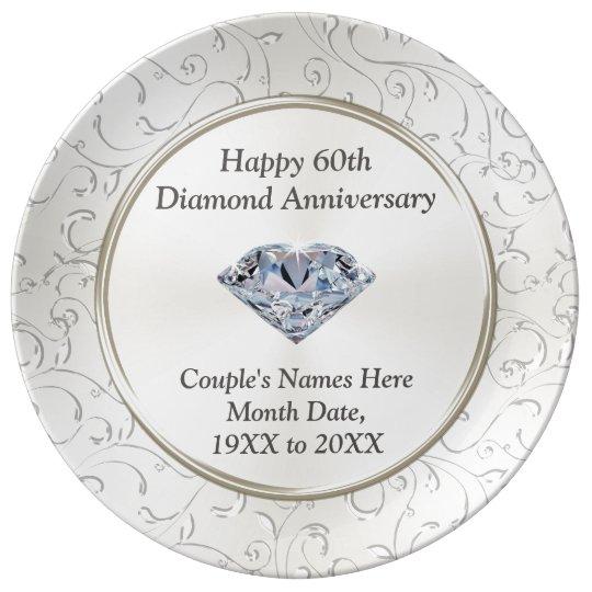 Personalised Happy 60th Diamond Anniversary Plate