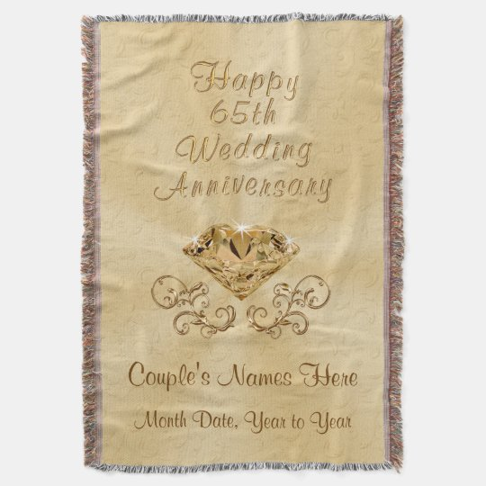 Personalised Happy 65th Anniversary Gifts Ideas Throw Blanket