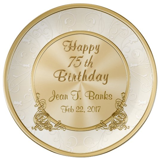 Personalised Happy 75th Birthday Porcelain Plate