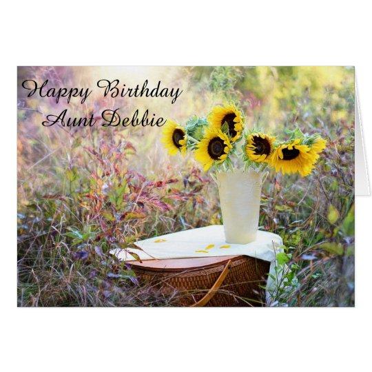 Personalised Happy Birthday Aunt Sunflower Card