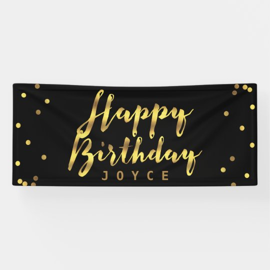 Personalised Happy Birthday Faux Gold Confetti Banner