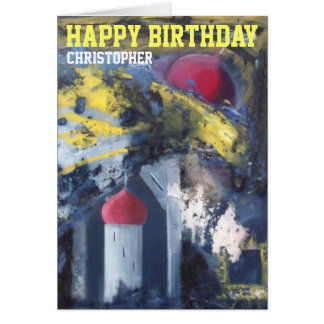 Personalised Happy Birthday Modern Art Card