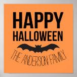 Personalised Happy Halloween Cartoon Bat Poster