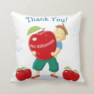 Personalised Happy Pupil With Apple For Teacher Cushions