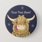Personalised Happy Scottish Highland Cow 7.5 Cm Round Badge