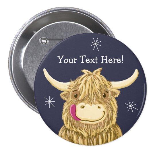 Personalised Happy Scottish Highland Cow 7.5 Cm Round