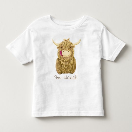 Personalised Happy Scottish Highland Cow Toddler T-Shirt
