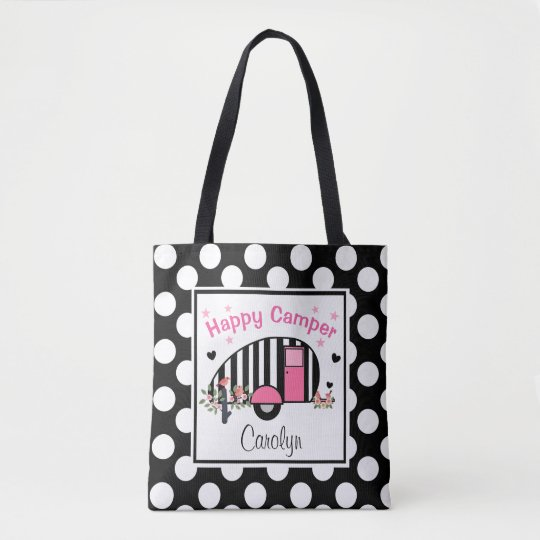 Personalised Happy Striped Camper Tote