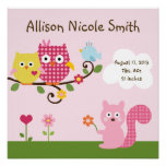 Personalised Happy Tree Owls Wall Art