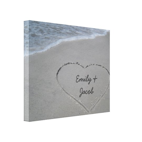 Personalised Heart in Sand Wrapped Canvas Print