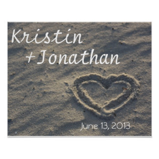 Personalised Heart in the Sand Wedding Gift Poster