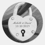 Personalised heart love lock wedding date stickers