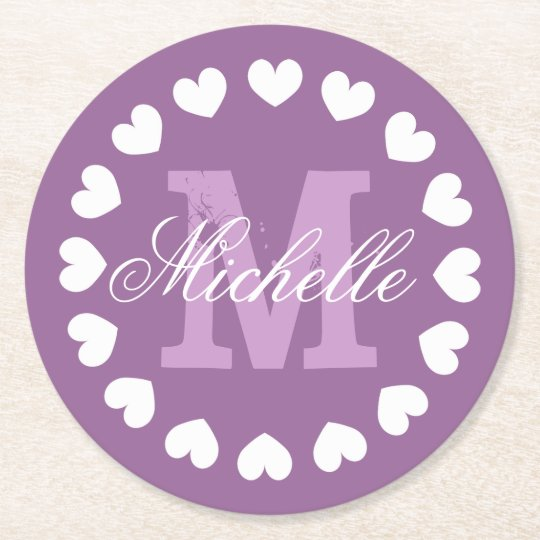 Personalised heart monogram wedding party coasters