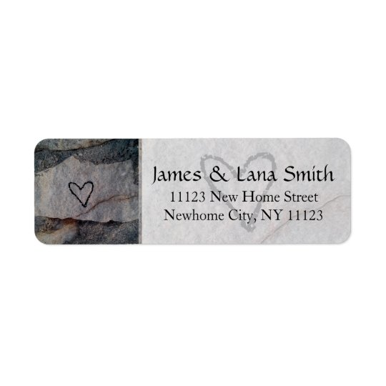 Personalised Heart on Grey Stone Wall Return Address Label