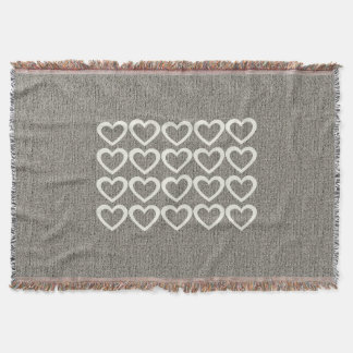 Personalised  Heart Pattern Grey Throw Blanket