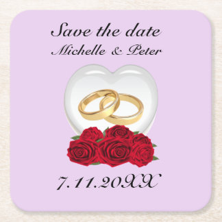 "Personalised Heart Roses Wedding ""Save The Date"" Square Paper Coaster"
