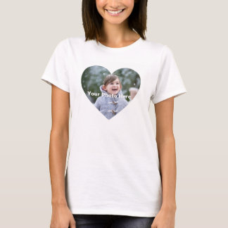 Personalised Heart-Shaped Photo Women's T-Shirt
