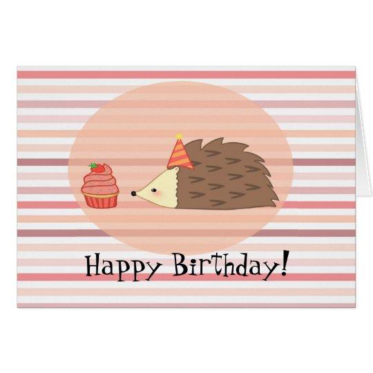 Personalised Hedgehog and Cupcake Card