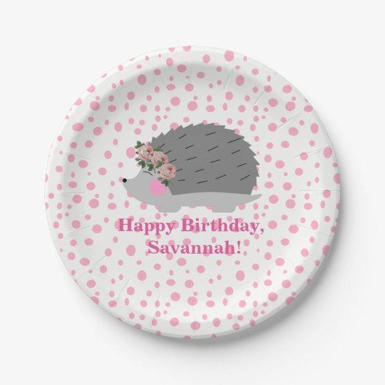 Personalised Hedgehog Birthday Paperplate Paper Plate