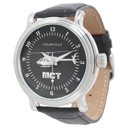 Personalised Helicopter Chopper Silhouette Flying Wrist Watches