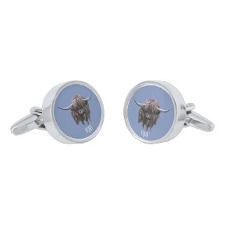 Personalised Highland Cow (blue grey) Silver Finish Cuff Links