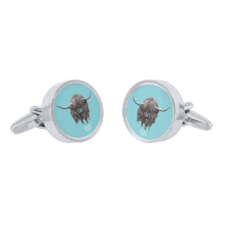 Personalised Highland Cow (saltire) Silver Finish Cuff Links