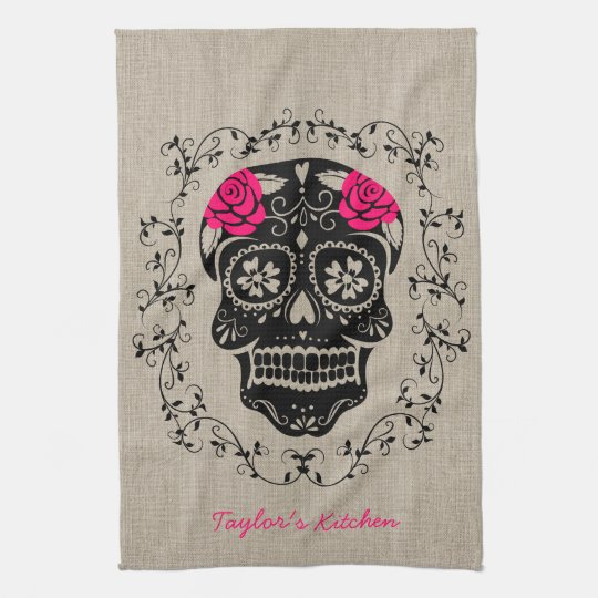 Personalised Hipster Sugar Skull Tea Towel