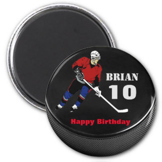 Personalised Hockey Puck Birthday Magnet