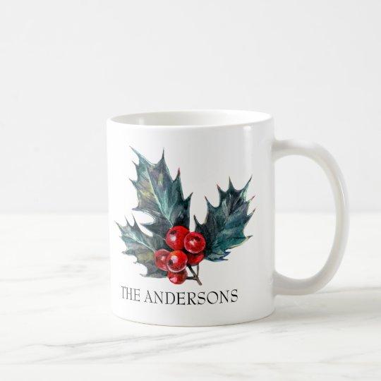 Personalised Holly Sprig Christmas Mug