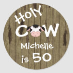 Personalised Holy Cow 50th Birthday Stickers