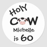 Personalised Holy Cow 60th Birthday Stickers