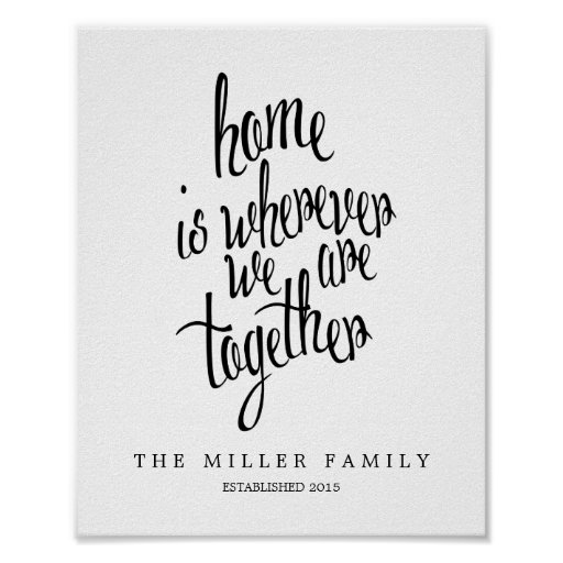 Personalised Home is Where We Are Family Keepsake Poster